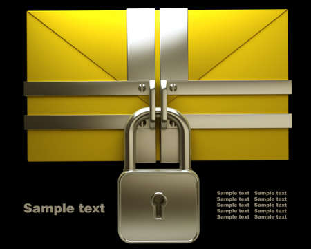 high resolution: Yellow mail and lock on black background. Isolated High resolution. 3D image