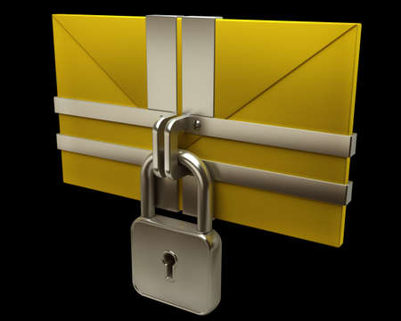 Yellow mail and lock on black background. Isolated High resolution. 3D image Stock Photo - 12980224