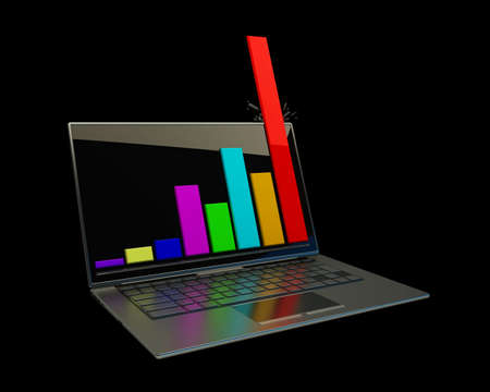Laptop showing a spreadsheet isolated on black background 3d photo