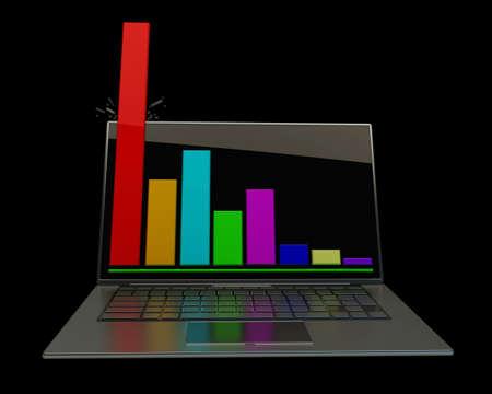 Laptop showing a spreadsheet 3d photo