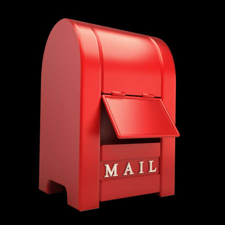 Postbox isolated on black  background 3d illustration Stock Illustration - 12979999