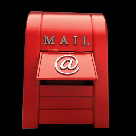 Postbox isolated on black  background 3d illustration Stock Illustration - 12980196