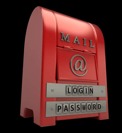 Postbox isolated on black  background 3d illustration Stock Illustration - 12980011