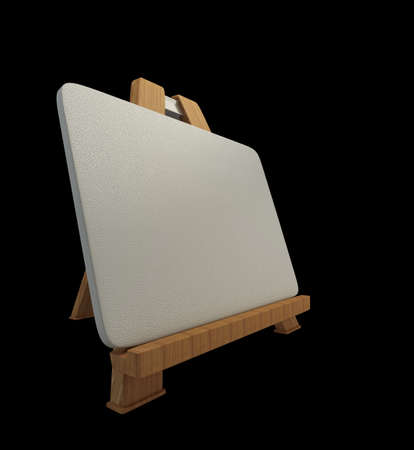 Mini wooden easel with blank canvas isolated on black background high resolution 3d photo