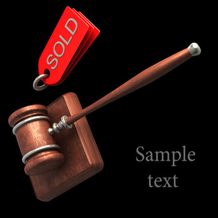 Auction gavel isolated on black background High resolution 3D photo