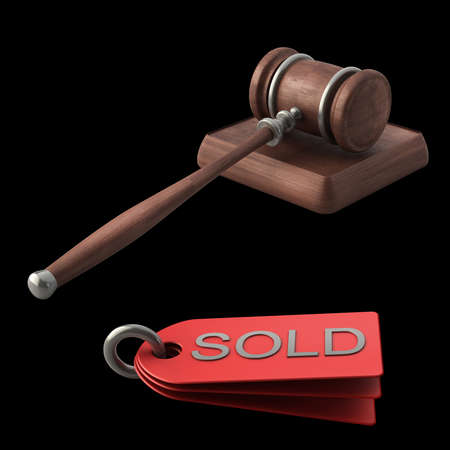 adjudicate: Auction gavel isolated on black background High resolution 3D Stock Photo