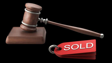 arbitrate: Auction gavel isolated on black background High resolution 3D Stock Photo
