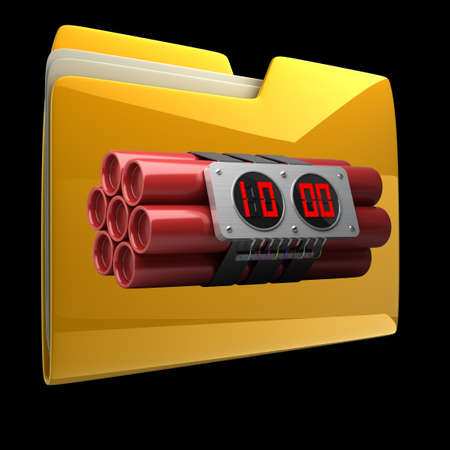 Yellow folder with Explosives alarm clock isolated on black background High resolution 3D photo
