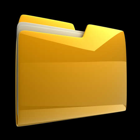 dir: Yellow folder icon isolated on black background High resolution 3D