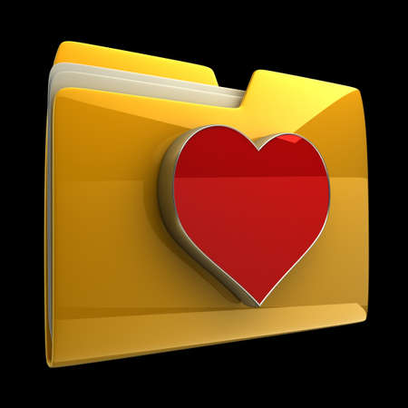 dir: Yellow folder with red Heart isolated on black background High resolution 3D Stock Photo