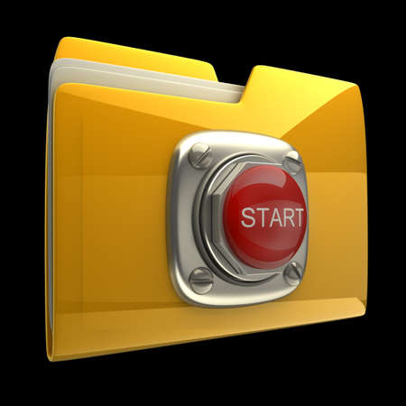 ftp: Yellow folder with Red START button isolated on black background High resolution 3D