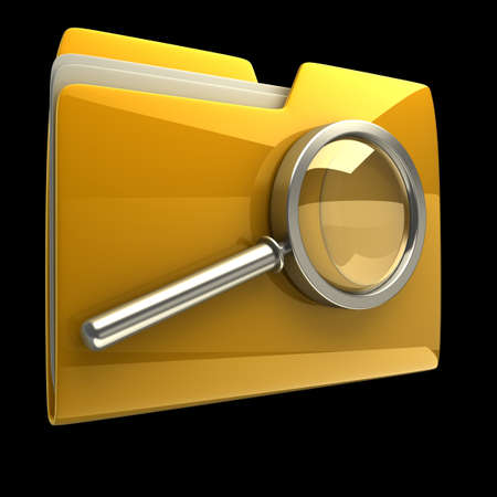 dir: Folder and file search with magnifying glass. 3D icon isolated on black background