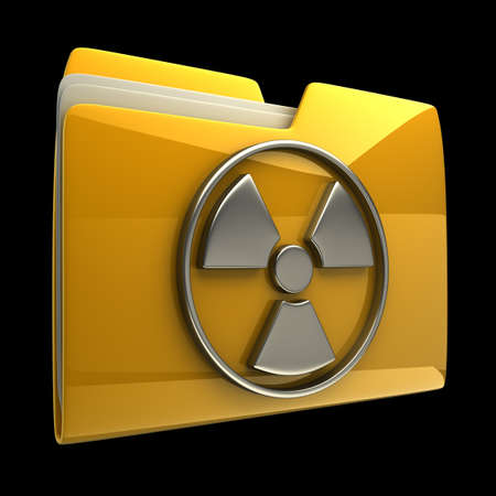 Yellow folder Radiation Alert sign icon isolated on black background High resolution 3D photo