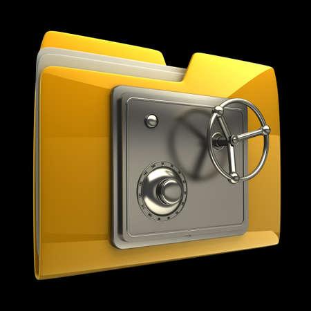 3d ilustraci�n de icono de la carpeta con el dial de bloqueo de seguridad aislada en el fondo negro de alta resoluci�n en 3D