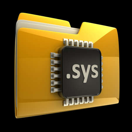Yellow folder with Computer microchip isolated on black background High resolution 3D photo