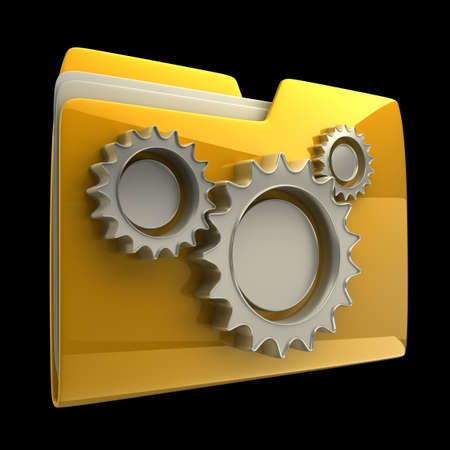 folder icons: folder icon with gear wheels, over black background High resolution 3D Stock Photo