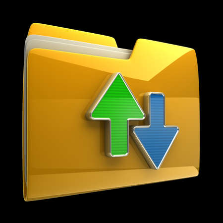 ftp: Date transferring concepts. Yellow folder icon isolated on black background High resolution 3D Stock Photo