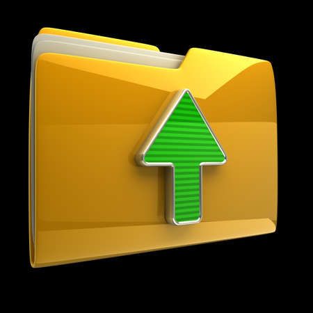 ftp: Yellow folder and arrow icon. Date download isolated on black background High resolution 3D Stock Photo