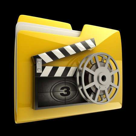 folder icons: Yellow folder clap board with countdown isolated on black  background High resolution 3D Stock Photo
