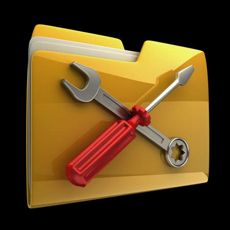tooling: Yellow folder Screwdriver and Wrench icon isolated on black background High resolution 3D