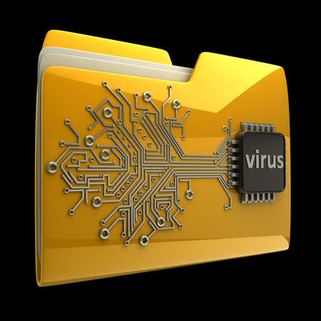 3D Yellow folder Computer microchip isolated on black background High resolution photo