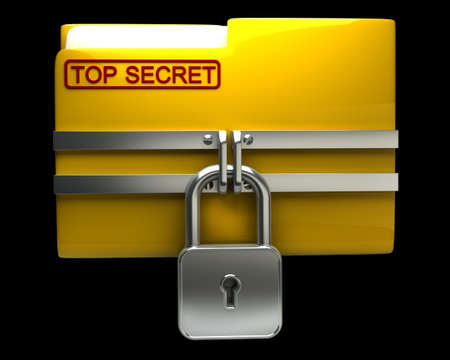 blocked: Folder with closed padlock (Top secret) isolated on black background High resolution. 3D image Stock Photo
