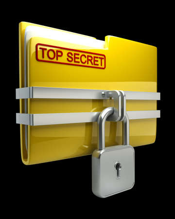 secure files: Folder with closed padlock (Top secret) isolated on black background High resolution. 3D image Stock Photo