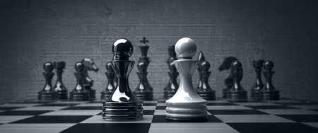 Black vs wihte chess pawn background. high resolution photo