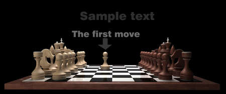 wooden Chess on black blackboard High resolution. 3D image photo
