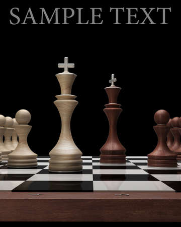 chess move: wooden Chess kings on black blackboard High resolution. 3D image