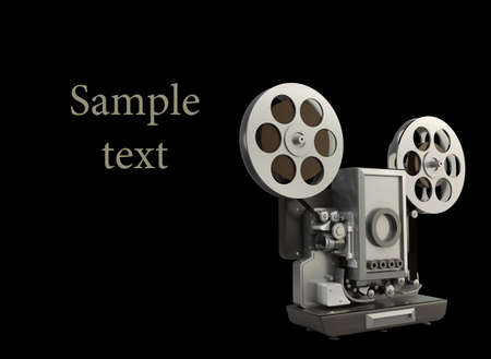 movie projector: cinema projector isolated on black High resolution 3D Stock Photo