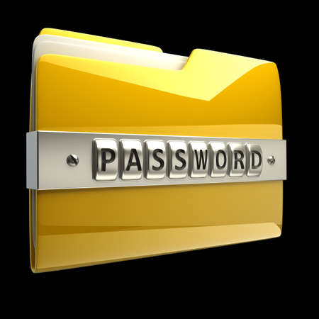 secret code: 3d illustration of folder icon with security password isolated on black background High resolution 3D
