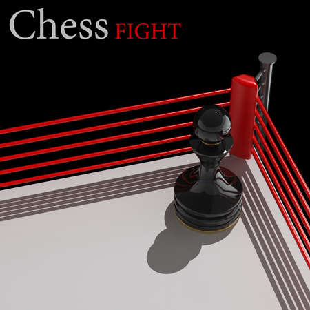 concept. chess pawn on a boxing ring 3D render (Hi-Res). background photo