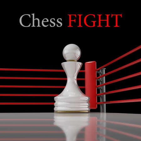 pawn: concept. chess pawn on a boxing ring 3D render (Hi-Res). background