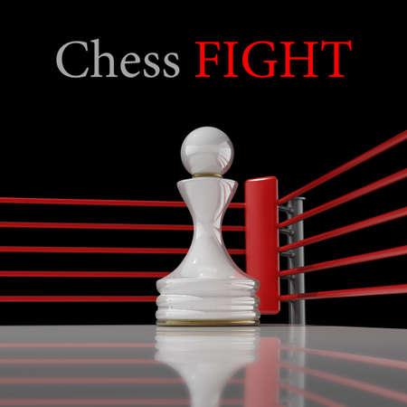 concepto. ajedrez pe�n en un ring de boxeo de render 3D (Hi-Res). fondo Foto de archivo