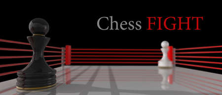 boxing ring: concept. chess pawn on a boxing ring 3D render (Hi-Res). background