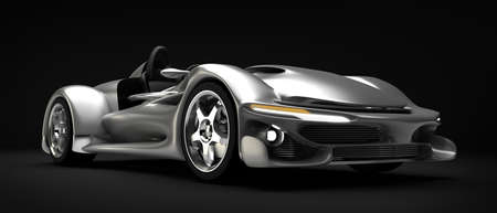 prototype: Sports car road-star isolated on black 3d render