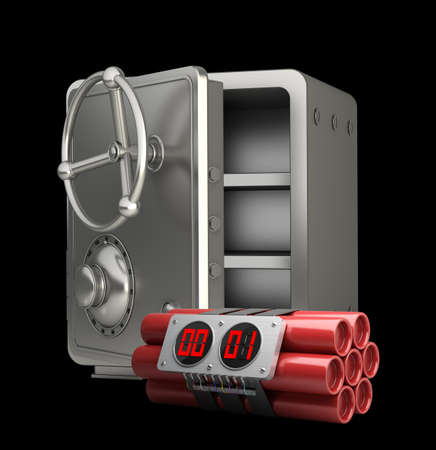 steel bank safe with Explosives alarm clock isolated on black background High resolution 3D photo