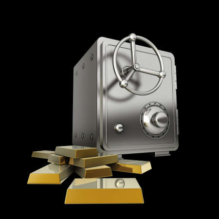 aureate: Safe with gold isolated on black background High resolution 3D Stock Photo