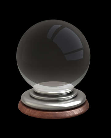 empty crystal ball isolated on black background 3d photo