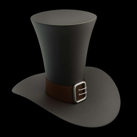 Black top hat with gray strip isolated on black background High resolution 3D photo