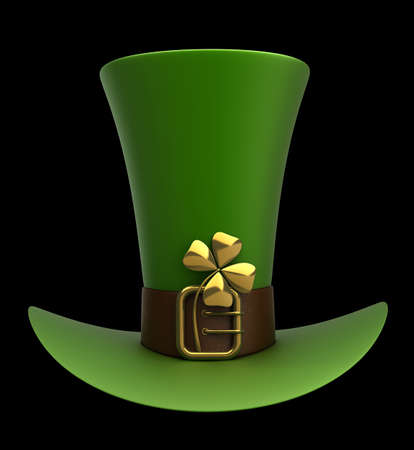 Hat with gold and clovers isolated on black background 3d illustration. high resolution Stock Illustration - 12980171