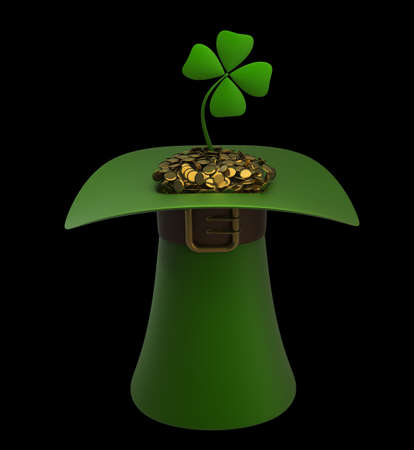Hat with gold and clovers isolated on black background 3d illustration. high resolution Stock Illustration - 12979757