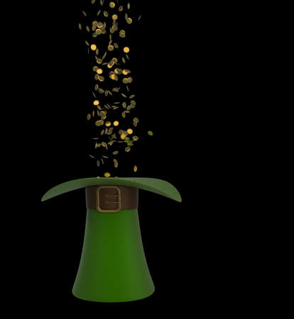 Hat with gold and clovers isolated on black background 3d illustration. high resolution illustration
