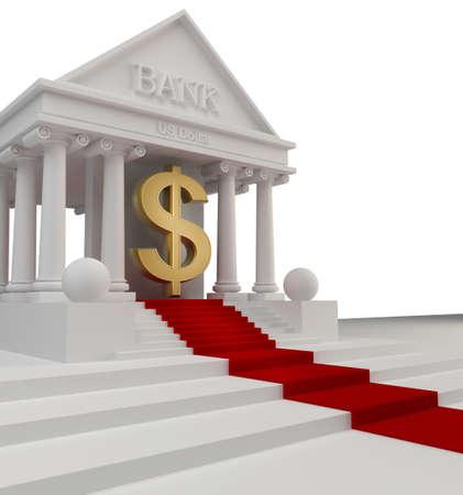Edificio del Banco con un 3d de oro s�mbolo de d�lar de los EE.UU. aislado en blanco Foto de archivo