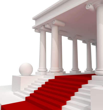 3d temple: Classic Antique Building 3d background isolated
