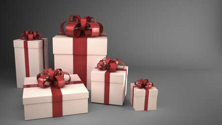white gift boxes with ribbons and bows 3d render ( high resolution )  photo