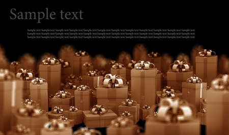 Beautiful gift boxes with ribbon 3D render ( high resolution )  photo