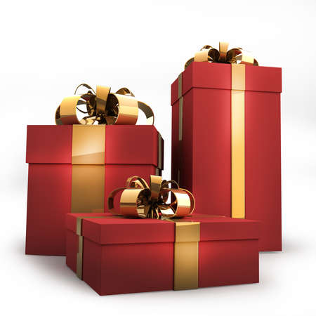 three gift boxes: red gift boxes with gold ribbon and bow isolated on white background 3d render ( high resolution )  Stock Photo