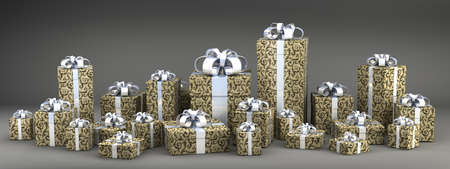 many gift boxes with ribbon isolated on black background 3D render ( high resolution )  photo